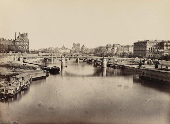 Le pont de Solférino, vu du pont de la Concorde, 1860, Baldus premières photos de paris