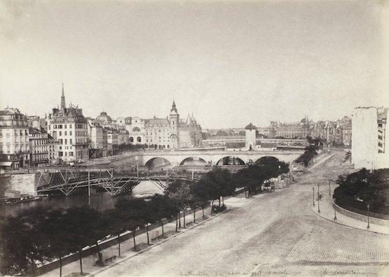Construction du pont d'Arcole et pompe Notre-Dame, 1855