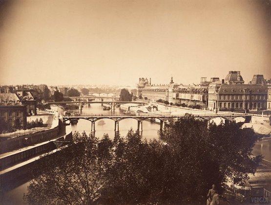 Vue de la Seine depuis le Vert Galant, 1856 premières photos de paris